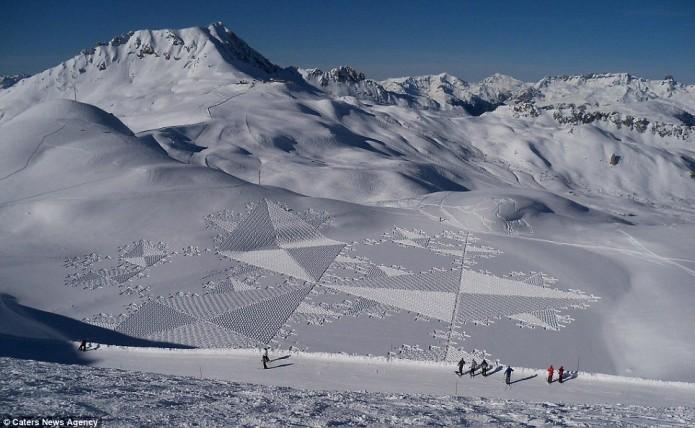 dessin dans la neige