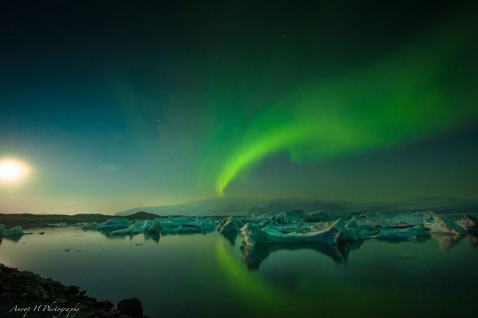 Glacier, Aurora, Moonlight - Jokulsarlon, Iceland